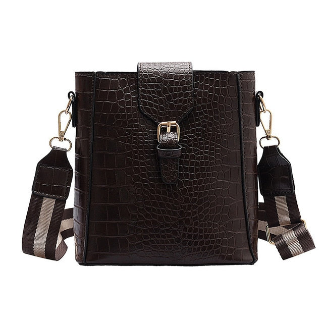 Crossbody Bag for Women Bags Bucket Handbag Crocodile Pattern Shoulder Bag Lady Strap Belt Female