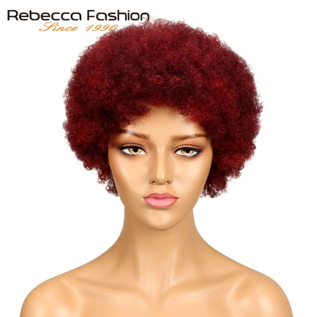 Rebecca Short Brazilian Afro Kinky Curly Wig Dark Brown Red Human Hair Kinky Curly Non Lace Wigs For Women