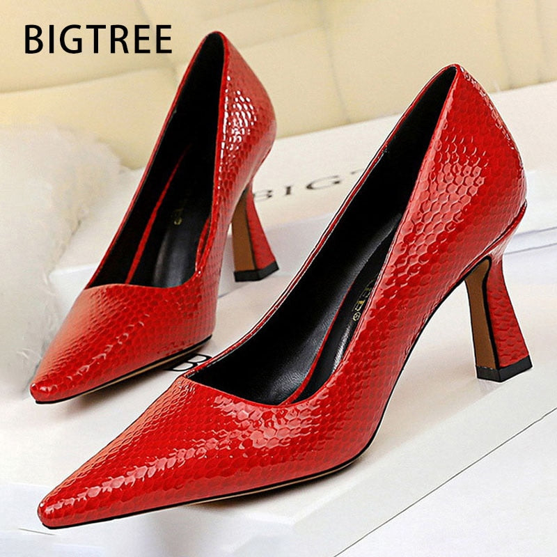 Bigtree Shoes Sexy Kitten Heels Snake Women Pumps Spring Women Shoes High Heels Pointed Party Shoes Red Lady Shoes Plus Size 43