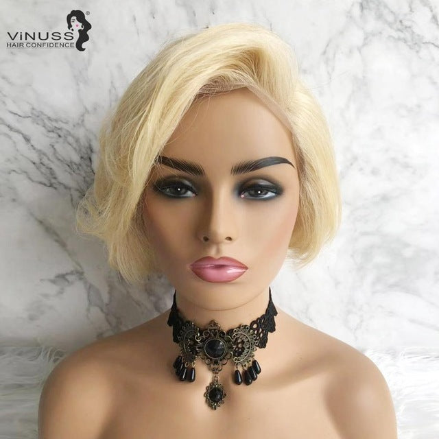 Lace Front Human Hair Wigs Brazilian Blonde Black Curly Short Pixie Cut Human Hair Bob Lace Wig Remy Wigs for Black Women wig