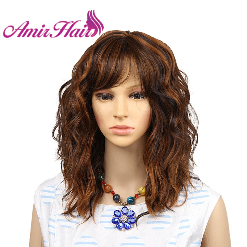 Amir Short Blonde Wigs for White Women Curly Wavy Synthetic Female Hair Wig black Full Wigs cosplay middle party wig