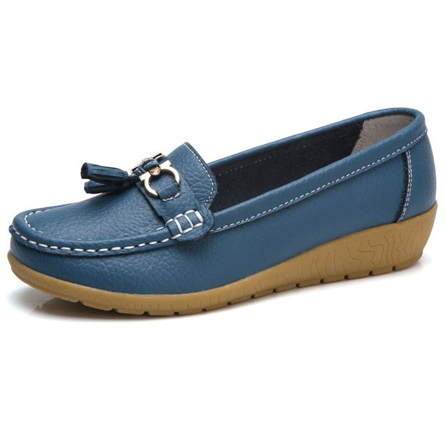 2020 New Women Shoes Loafers Genuine Leather Women Flats Slip On Women's Loafers Spring Flats Female Moccasins Shoes Plus Size