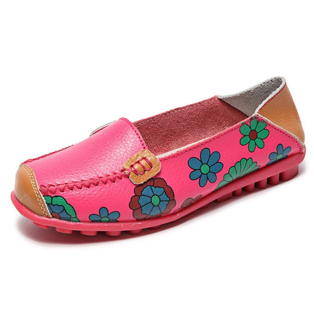 2020 Fashion Women Flats Genuine Leather Shoes Women Slip On Ballet Flats Print Shoes Moccasins Loafers Shoes Flower