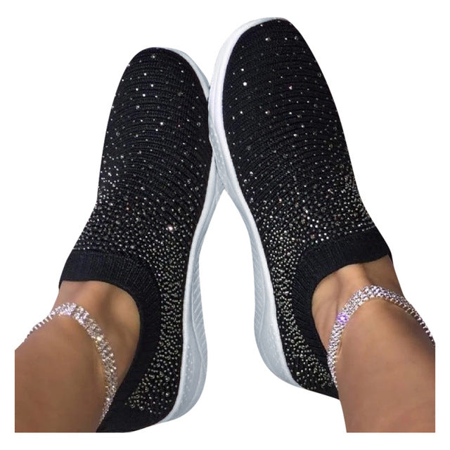 Women White Glitter Sock Sneakers Fashion Bling Casual Vulcanized Flat Shoes Trainers Female Loafers Tenis Feminino Basket Femme