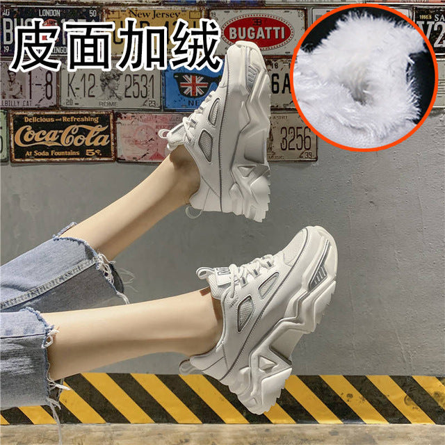 Women Sneakers White Black Designer Shoes Woman Autumn Winter Chunky Sneakers Fashion Light Dad Shoes Ladies Platform Footwear