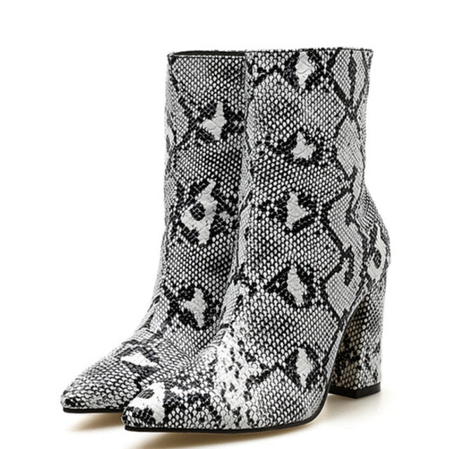 botas Womens plus size Ankle Snakeskin Boots High Block square Heels Snake Print Chunky Heel Bootie Shoes 2020