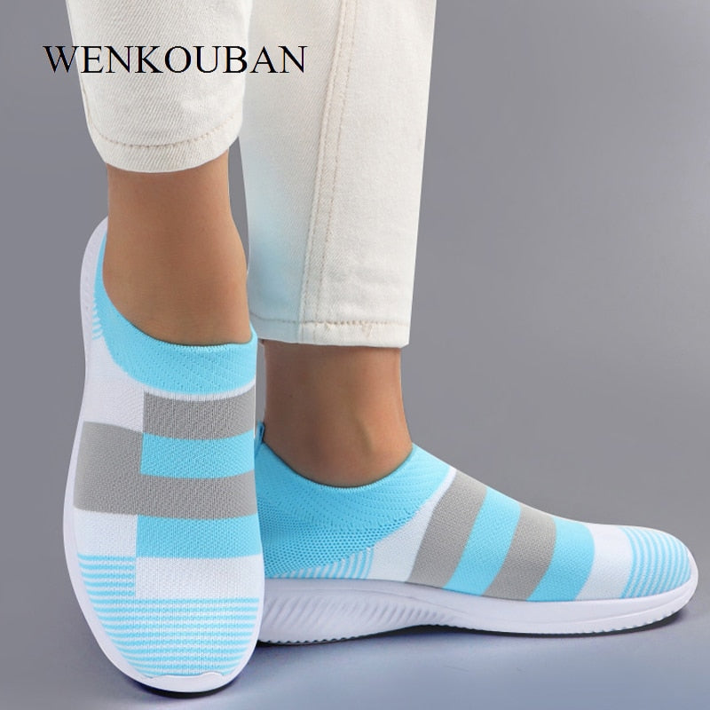 Women Vulcanized Shoes Fashion Winter Sneakers Ladies Casual Mesh Socks ShoesBasket Femme Slip-On Trianers Tenis Feminino 2020