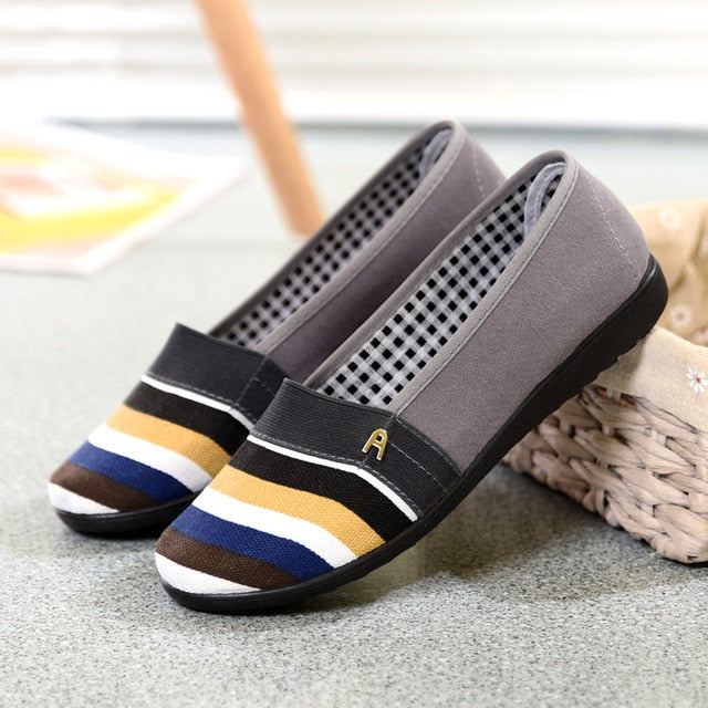 Women Flats Moccasins Casual Shoes Female Candy Color Stripe Loafers Mother Slip On Soft Flat Shoes Spring Ladies Shoes 2019