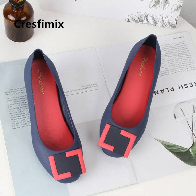 Cresfimix Zapatos De Mujer Women Cute Sweet Navy Blue Slip on Flat Shoes Ladies Classic Summer Jelly Comfort Beach Loafers