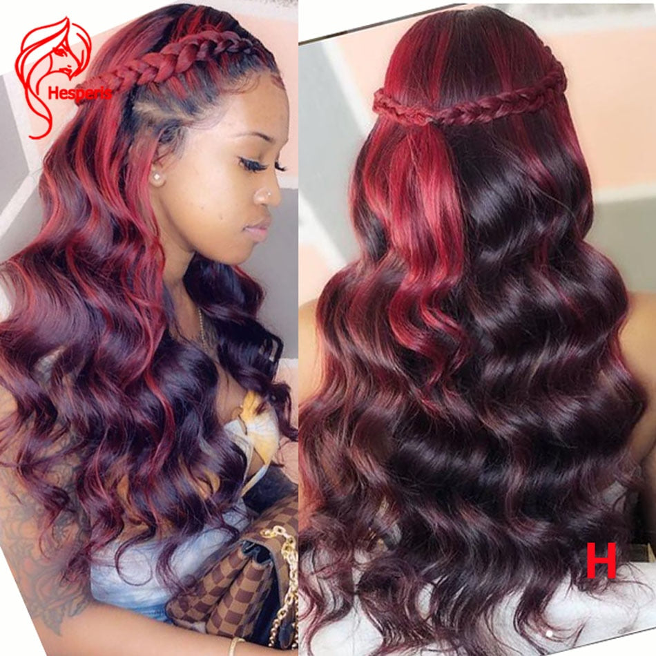 Hesperisr 13X4 Red Highlight Burgundy 99J Lace Front Human Hair Wigs Pre Plucked Brazilian Remy Hair Lace Front Wigs Ombre Wave