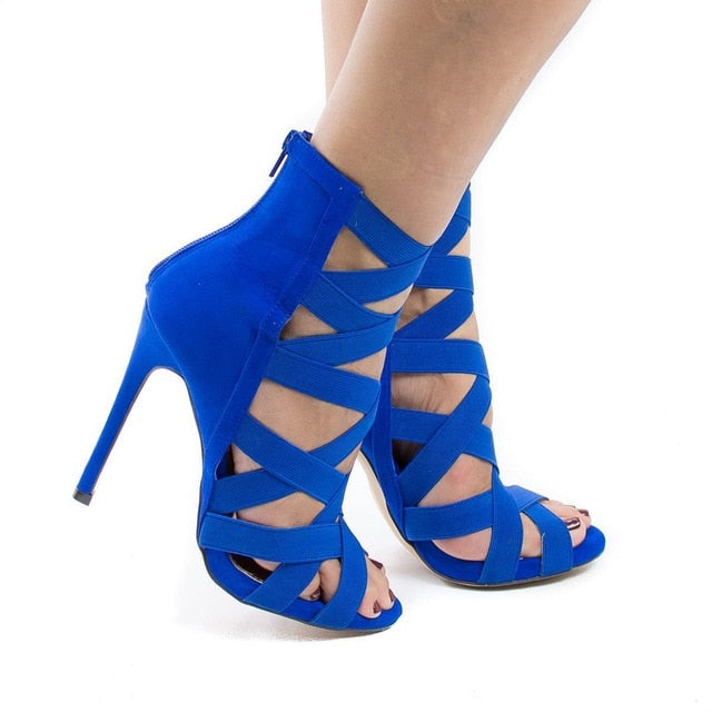Women Heeled Sandals stretchy Bandage Ankle Strap Pumps Super High Heels stiletto Heels Lady Shoes 2020