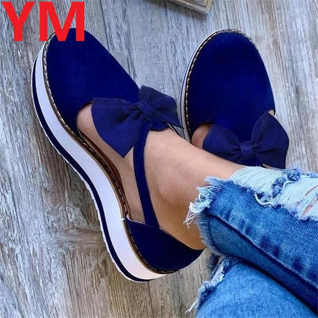 Bow Spring Summer Shoes Women Hemp High Heel Platform Outdoor Leisure Buckle Slippers Beach Sandals Ladies Sexy T-Strap Sandals