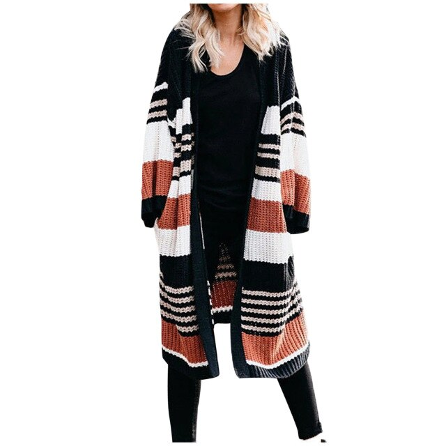 Autumn Winter Women's Large Size Loose Striped Color Block Cardigan Sweater Top Knit sweater cardigan vest dames lange mouw E1