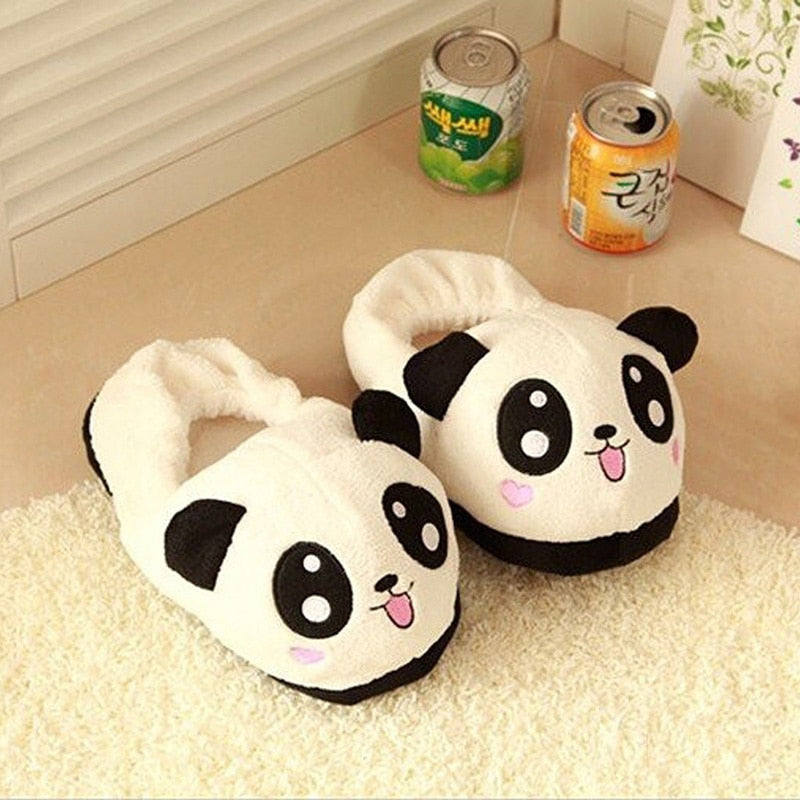 THINKTHENDO Cute Panda Eyes Women Cute Slippers Lovely Cartoon Indoor Home Soft Shoes