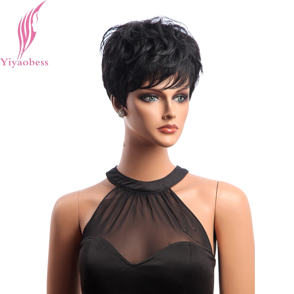 Yiyaobess Short Black Wig Curly Hair Synthetic Natural Wigs For Women Japanese Fiber