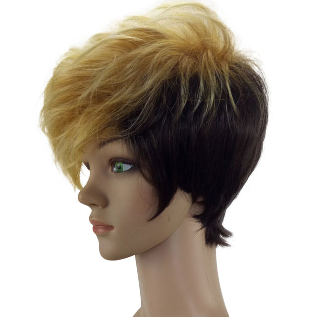 HAIRJOY Women 2 Tones Heat Resistant Synthetic Hair Double Color Short Curly Party Cosplay Wig