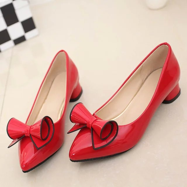 ladies low heel shoes Spring leather Pointed toe Shoes woman high Red Bow Slip on dress Shoes zapatos mujer Ladies boat shoes
