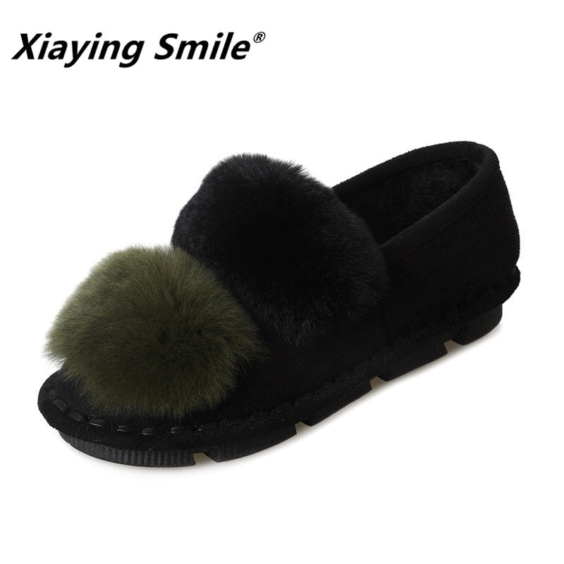 Xiaying Smile Women Snow Flats New Arrive Women Fashion Casual Keep Warm Short Plush Shoes Popular Faux Fur Mixed Crolors Shoes