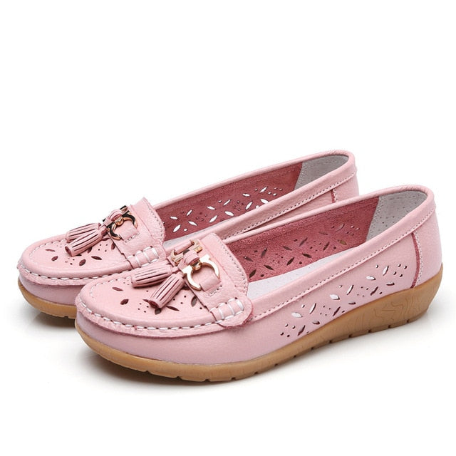 Women Flats Summer Women Genuine Leather Shoes With Low Heels Slip On Casual Flat Shoes Women Loafers Soft Nurse Ballerina Shoes