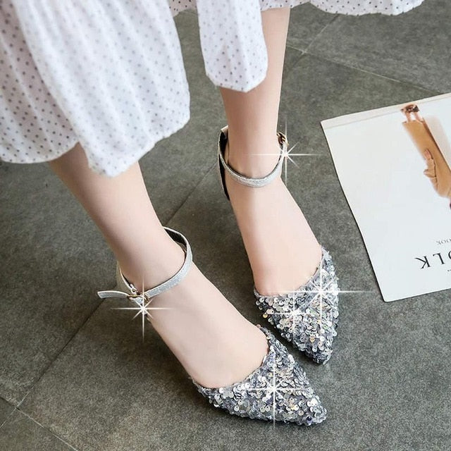 2019 Women Pumps High Thin Heel Bling Bridal Wedding Shoes Classic Pointed Toe Sexy Ladies Party Shoes Pumps