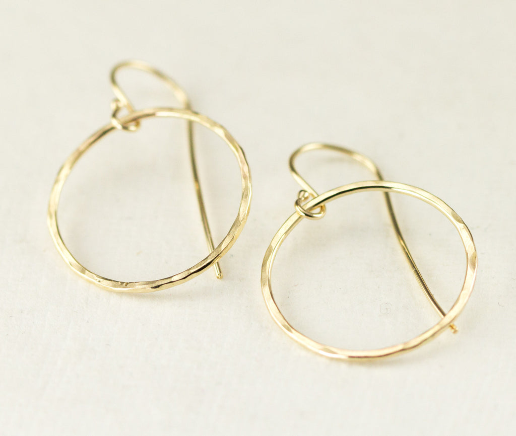 14k Gold Hoop Dangles