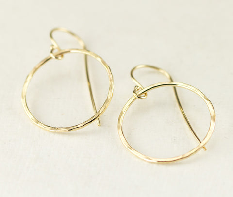 Small Gold Hoops - 14k Gold Dangle Earrings - Yellow Gold or Rose Gold Hoops
