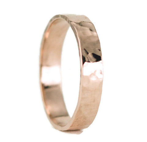 14k Rose Gold Wedding Band - Hammered Gold Wedding Ring in Rose Gold or Yellow Gold