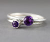 Amethyst sterling stack ring