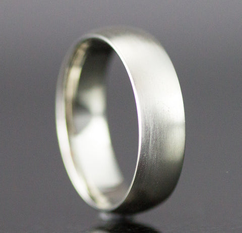 14k White Gold Wedding Band - 6mm Wide White, Yellow or Rose Gold Ring