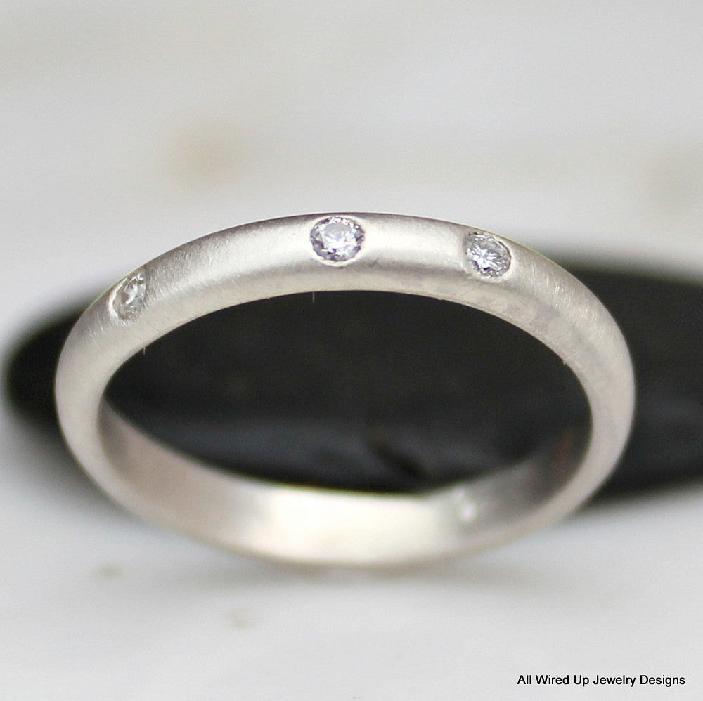 Diamond Wedding Ring - 3 Stone Diamond Band - Sterling or 14k Gold ...