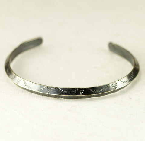 Sterling Triangle Wire Cuff - Hand Stamped Designer Cuff