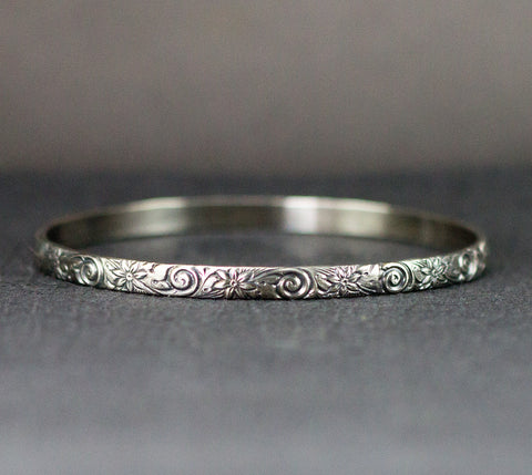 Sterling Flower and Spiral Bangle - 5mm Wide Pattern Bangle Bracelet