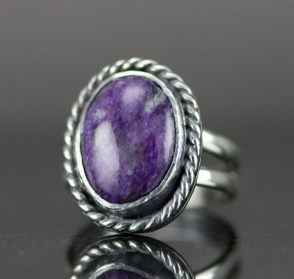 Charoite Sterling Ring - Genuine Russian Charoite