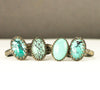 Sterling Turquoise Ring - Oval Turquoise Ring on Rope Pattern Band