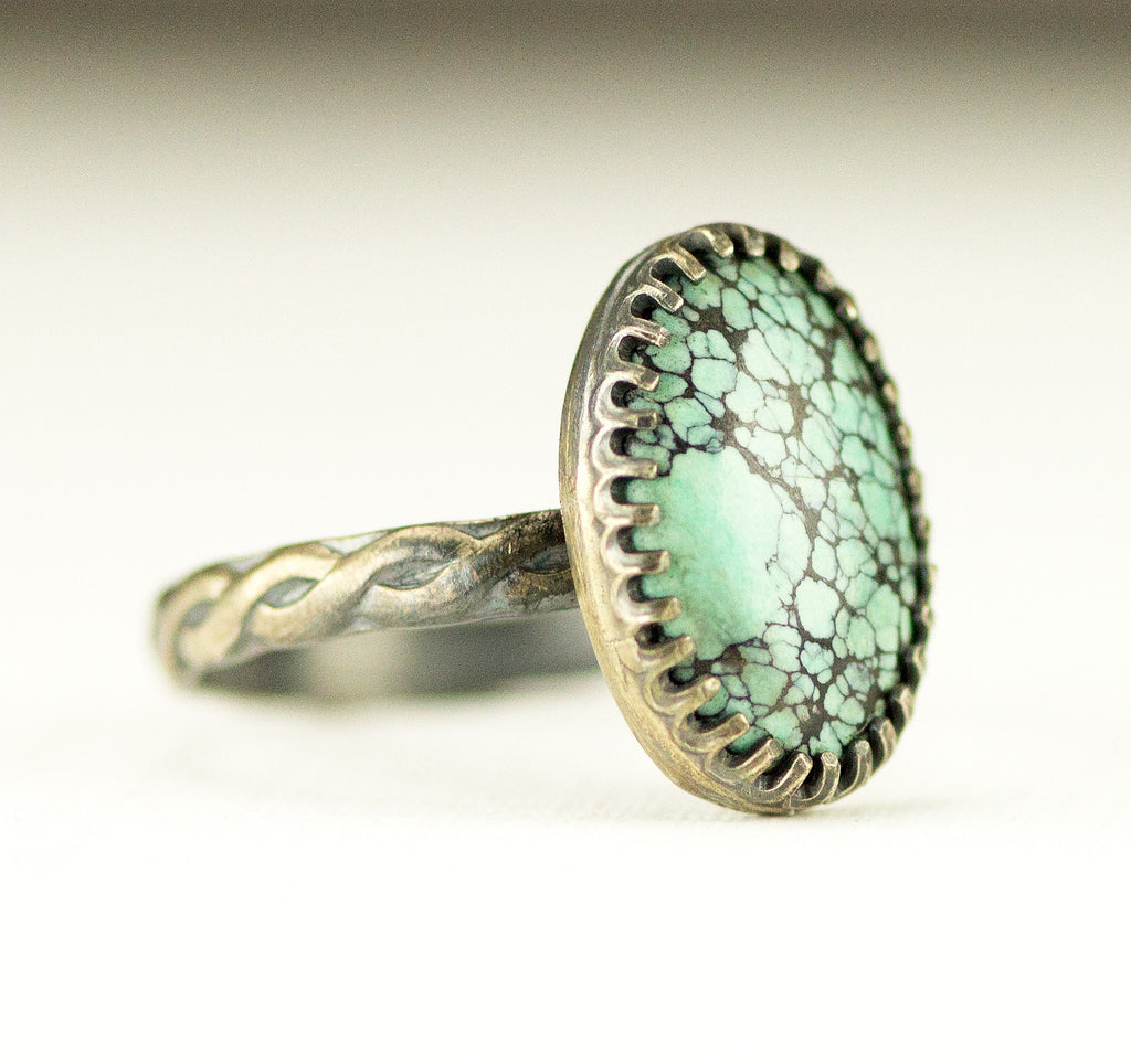 Turquoise Ring on Rope Pattern Band
