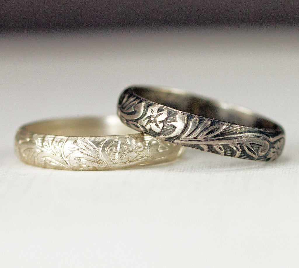 Flower Pattern Sterling Ring