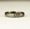 Oxidized Sterling Floral Wedding Band