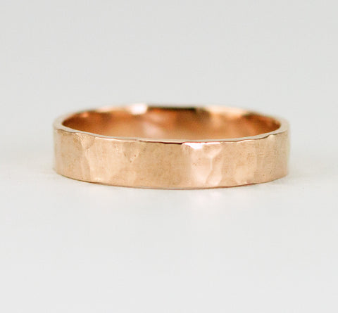 Solid Rose Gold Wedding Ring - 4 x 1.5mm  Hammered Gold Wedding Band in Rose Gold or Yellow Gold