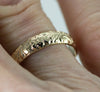 14k Gold Flower Wedding Band - Vintage Style Antique Leaf and Flower Gold Ring