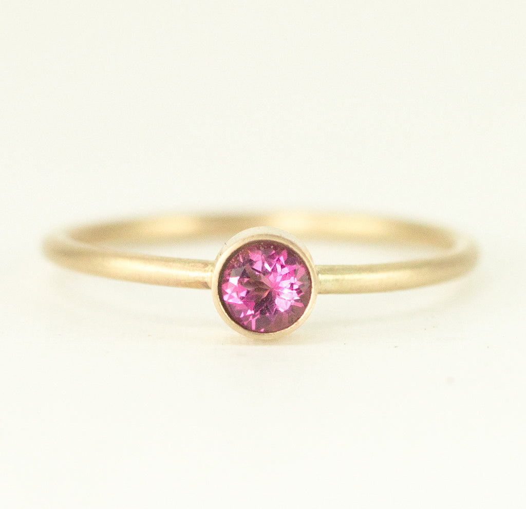 14k Gold Stacking Rings - 5mm Birthstone Gold Rings - All Wired Up ...