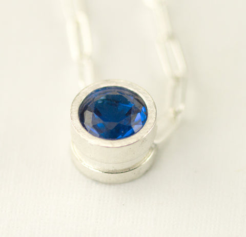 Birthstone Necklace - Birthstone Slider Pendant - Sterling Mother's Necklace