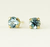Gold Aquamarine Studs