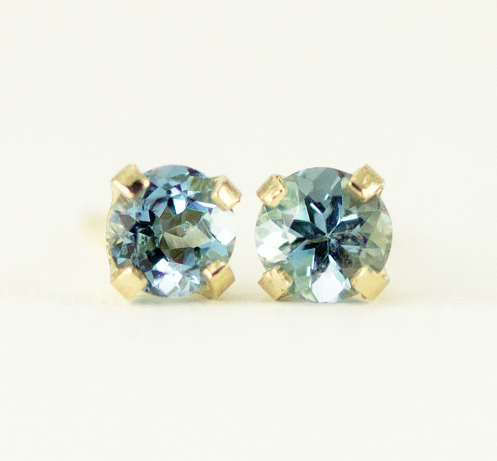 aquamarine gold set marine bezel march stud earrings white round aqua birthstone