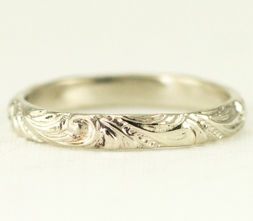 14k White Gold Vintage Inspired Wedding Band - All Wired Up Jewelry ...