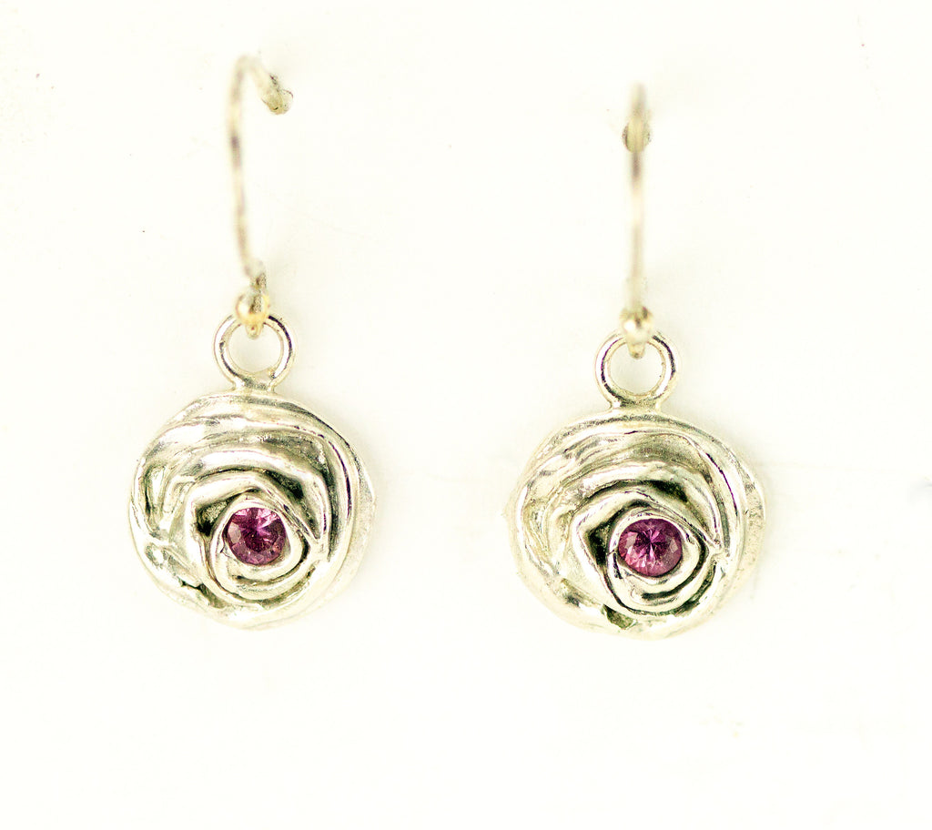 Pink Sapphire Rose Earrings
