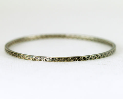 Zig Zag Sterling Bangle - Thin Inside Out Pattern Bangle Bracelet