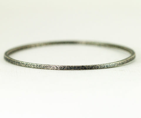 Skinny Sterling Bangle - Pattern Bangle Bracelet - Square Edge Bangle