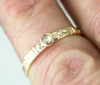 Rose Cut Diamond Engagement Ring - 14k Gold Flower Band Diamond Ring
