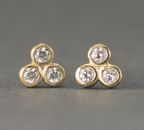 Geometric Gold Diamond Trio Stud Earrings -Three Stone Diamond Studs