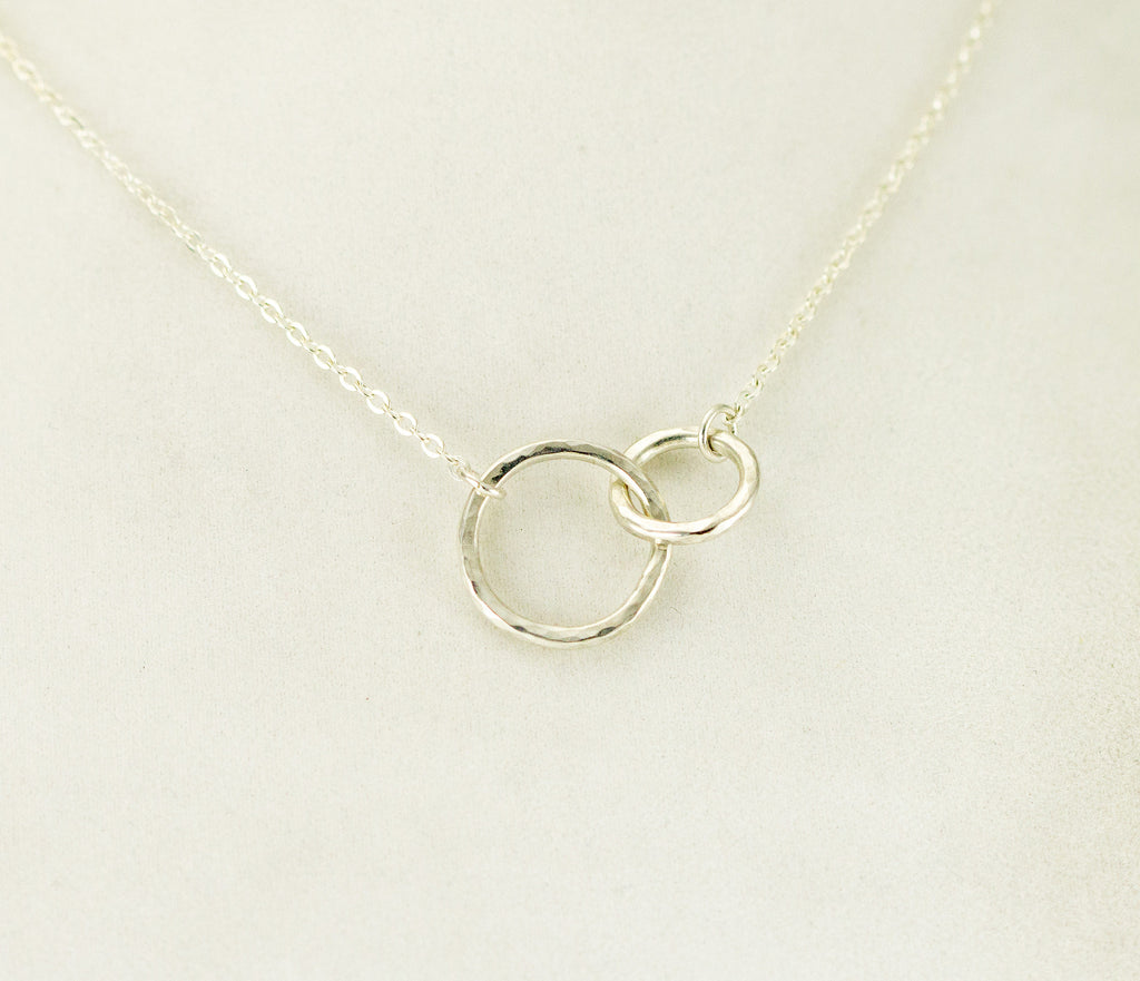 Sterling double circles necklace together sterling circles pendant sterling small double circles necklace aloadofball Image collections